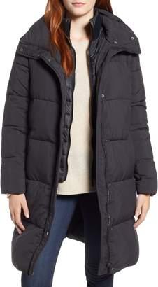 Bernardo Channel Puffer Coat with Vest Inset