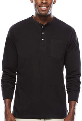 Smith Workwear Smith's Workwear Long-Sleeve Rib-Knit Henley Cotton Tee