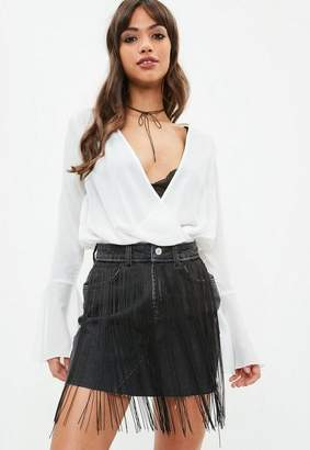 Missguided White Chiffon Wrap Blouse