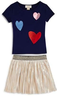 Kate Spade Girls' Glitter Foil Heart Tee & Metallic Skirt Set