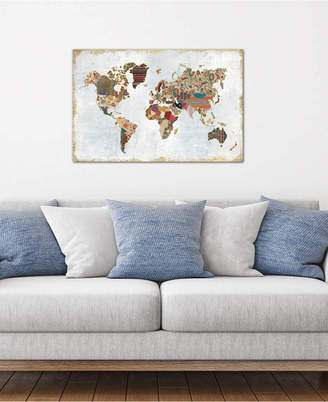 """iCanvas Pattern World Map"""" by Laura Marshall Gallery-Wrapped Canvas Print (26 x 40 x 0.75)"""