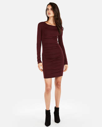 Express Ruched Long Sleeve Marled Sweater Dress