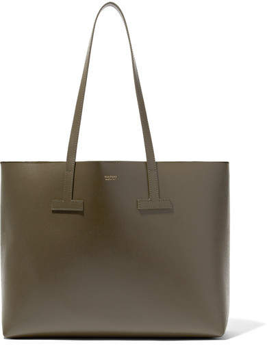 TOM FORD - T Small Textured-leather Tote - Army green