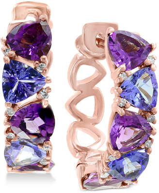 Effy Amethyst (2-1/5 ct. t.w.), Tanzanite (2 ct. t.w.) & Diamond Accent Hoop Earrings in 14k Rose Gold