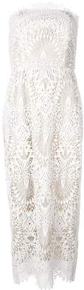 Badgley Mischka embroidered strapless dress