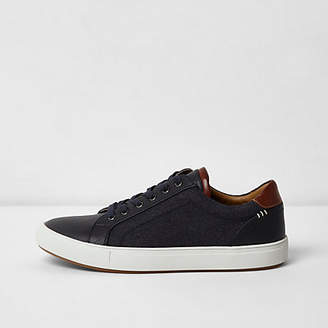 River Island Navy denim side lace-up sneakers