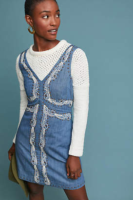 Anthropologie Embroidered Denim Mini Dress