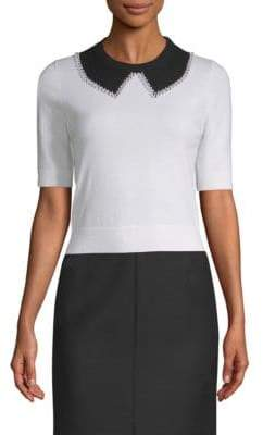 Michael Kors Faux-Pearl Collar Cashmere Knit