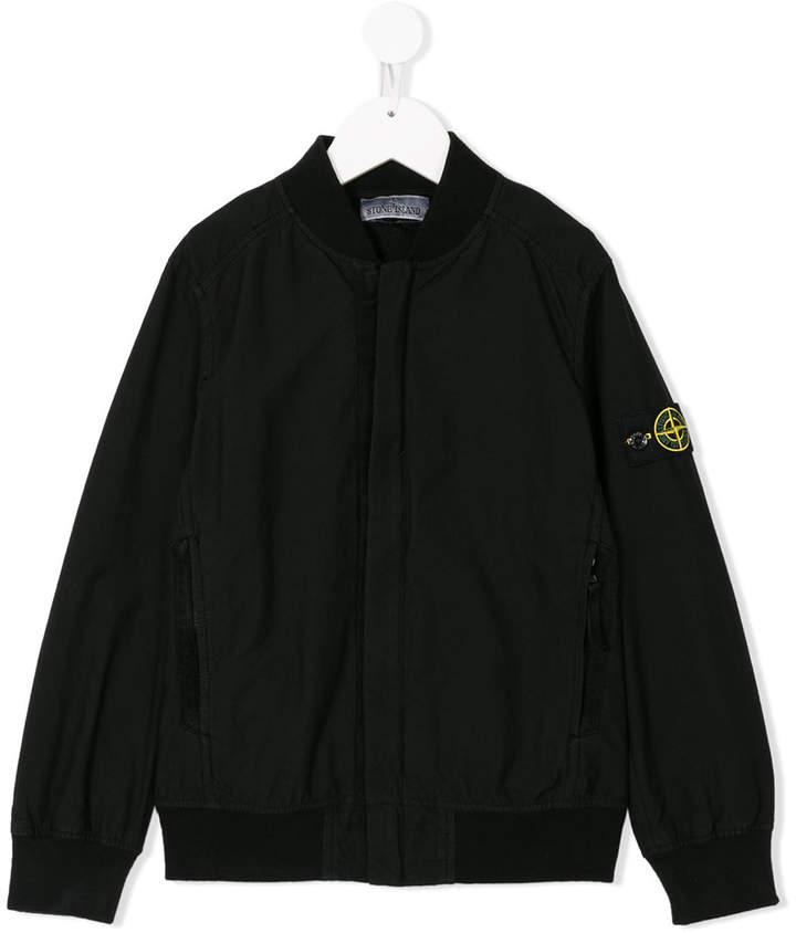 Stone Island Junior logo plaque bomber jacket