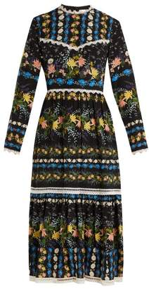 Erdem Georgie Mariko Meadow Print Silk Dress - Womens - Black Print