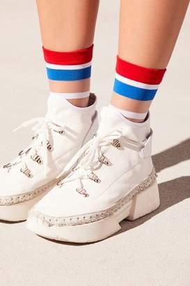 Peach Socks Strut Striped Sheer Sock