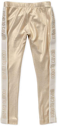 Roberto Cavalli Junior (Girls 7-16) Light Gold Logo Tape Leggings