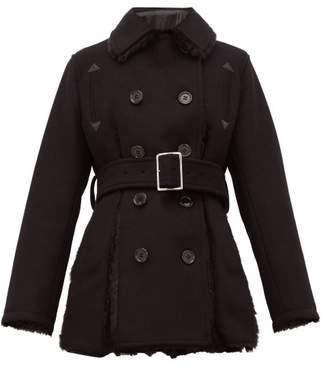 Noir Kei Ninomiya Double Breasted Faux Fur Trim Wool Blend Coat - Womens - Black