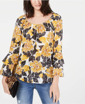 INC International Concepts I.n.c. Tiered-Sleeve Peasant Top