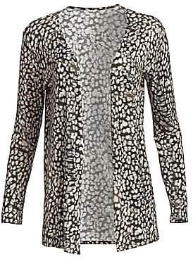Majestic Filatures Women's Soft Touch Animal Print Cardigan