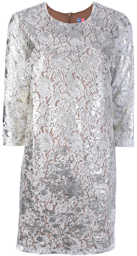 Msgm floral lace shift dress