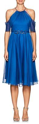 Halston WOMEN'S EMBELLISHED CHIFFON COLD-SHOULDER DRESS
