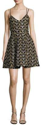 Alice + Olivia Marilla Damask Embroidered V-Neck Fit & Flare Dress