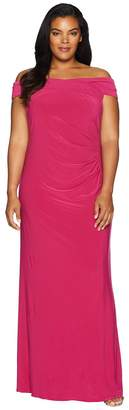 Adrianna Papell Plus Size Off the Shoulder Stretch Jersey Long Gown Women's Dress