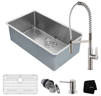Kraus KRAUS Kitchen Combo with Handmade Undermount Stainless Steel 32 in. Single Bowl 16 Gauge Kitchen Sink and Nola Commercial Kitchen Faucet with Soap Dispenser in Stainless Steel