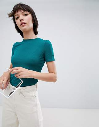 Monki ribbed round neck t-shirt in bottle green