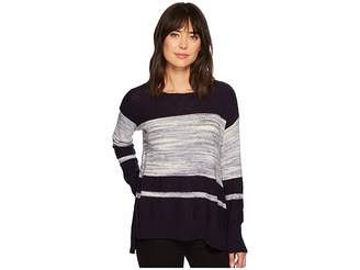 Vince Camuto Long Sleeve Blocked Space Dye Stripe Sweater Women's Sweater