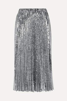 Philosophy di Lorenzo Serafini Pleated Sequined Tulle Midi Skirt - Metallic