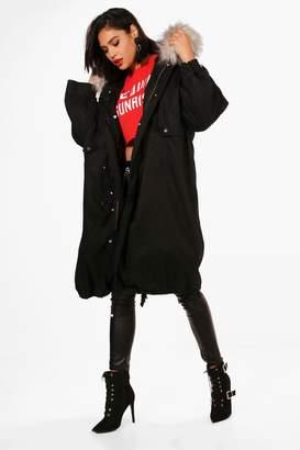 boohoo Parka With Faux Fur Trim & Detachable Lining