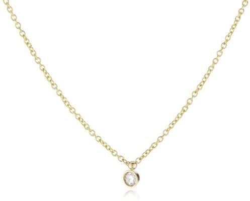Mizuki 14k Cable Chain Necklace With Diamond Bezel