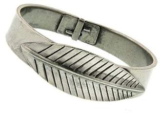 1928 T.R.U. Jewelry Pewter Feather Bangle Bracelet