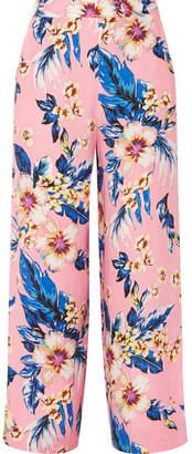 Diane von Furstenberg Floral-print Twill Wide-leg Pants - Baby pink