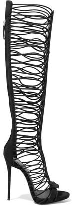 Giuseppe Zanotti - Suede Sandals - Black $1,995 thestylecure.com