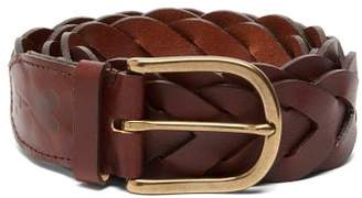 Ami Braided Leather Belt - Mens - Brown