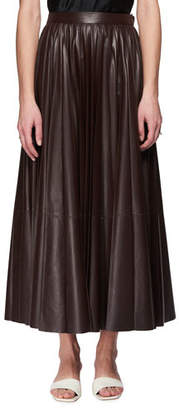 The Row Vaileen A-Line Long Lambskin Leather Skirt