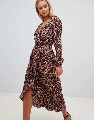 Influence leopard print wrap midi dress with ruffle