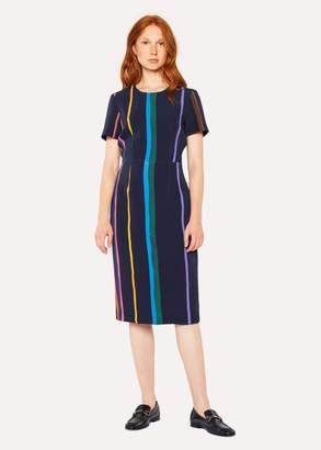 Paul Smith Women's Navy 'Brush Stripe' Print Shift Dress