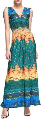 Wantdo Women's Boho Maxi Dress Floral Printing Extra Long Dress Plus Size