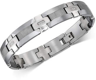Esquire Men's Jewelry Diamond Link Bracelet (1/8 ct. t.w.) in Tungsten