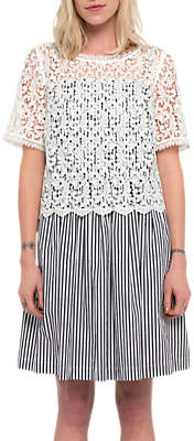 French Connection Sardinia Stripe Flared Dress, Black/Summer White