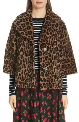 Michael Kors Leopard Print Crop Sleeve Genuine Shearling Coat