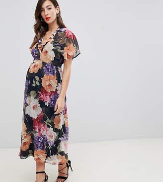 Queen Bee flutter sleeve midi dress in floral print