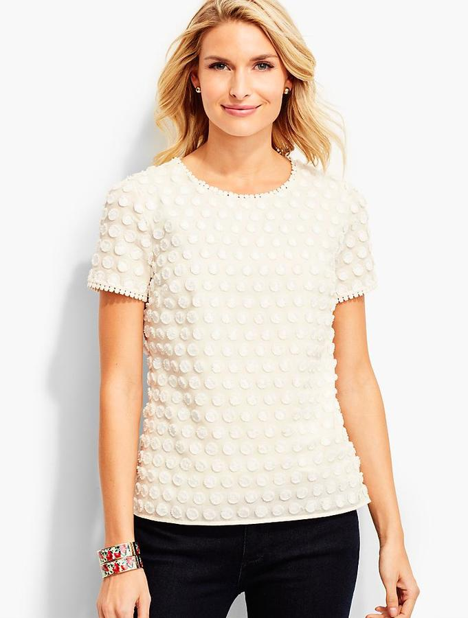 Fringed Dot & Lace Top