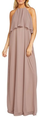 Women's Show Me Your Mumu Aimee Ruffle Bodice Chiffon Halter Gown $172 thestylecure.com