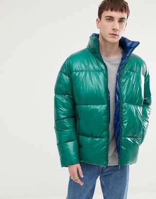 Asos DESIGN puffer jacket in high shine in emerald