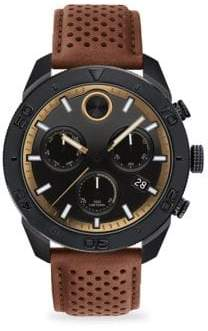 Movado Bold Round Ionic Plated Black Steel& Tan Leather Chronograph Watch
