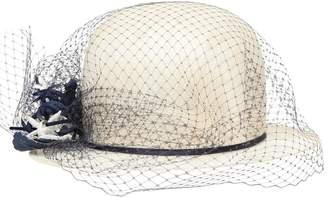 Alex Sisal Straw Bowler Hat W/ Net Tulle Veil