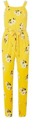 Dorothy Perkins Womens Yellow Floral Pinny jumpsuit