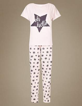 Marks and Spencer Star Print Short Sleeve Pyjama Set
