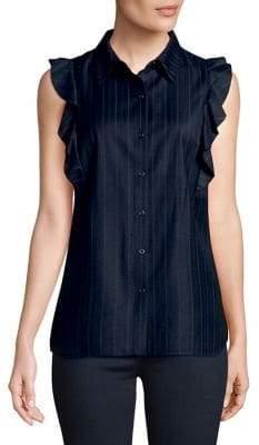 T Tahari Merdaeth Ruffle Striped Blouse