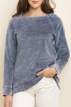 Umgee USA Mineral-Wash Velvet Pullover
